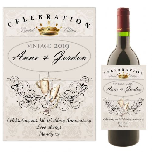 Personalised 1st 2nd 3rd 4th Wedding Anniversary Wine / Champagne Bottle Label N59 - Any Year